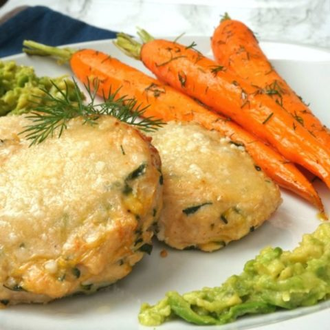 Chicken meatballs with roasted carrots and avocado paste