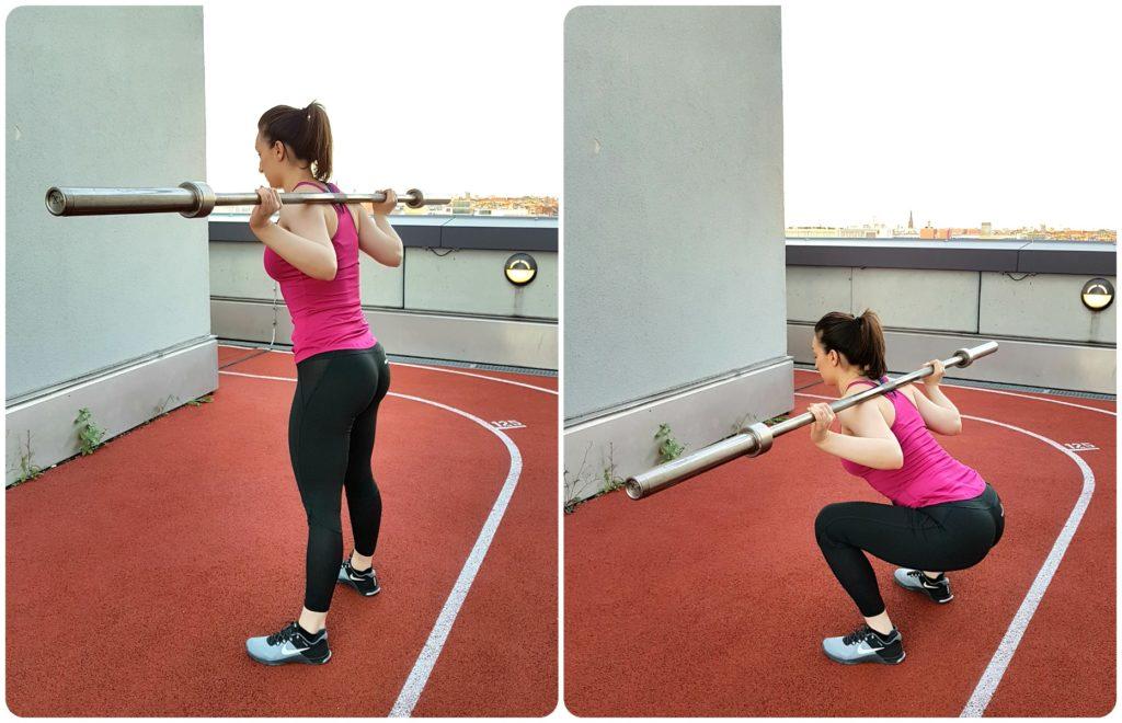 girl low bar squatting