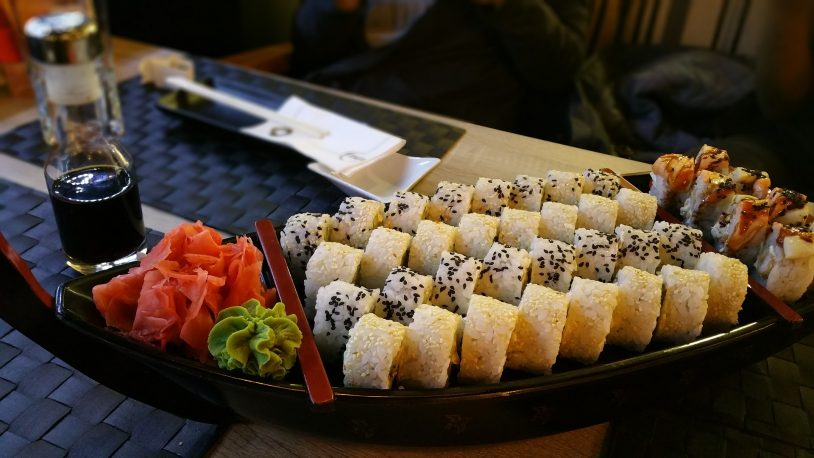 Sushi rolls in a restaurant