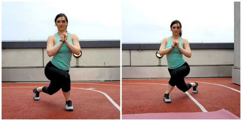 """Fit girl performing crossover lunge from article """"bodyweight glutes and legs building workout"""""""