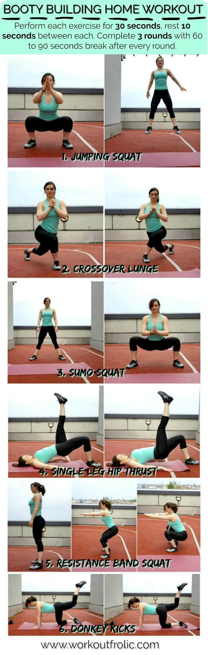 A collage depicting a glute bodyweight workout performed by a fit girl.
