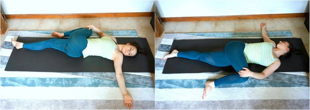Girl performing Spinal stretch pose.