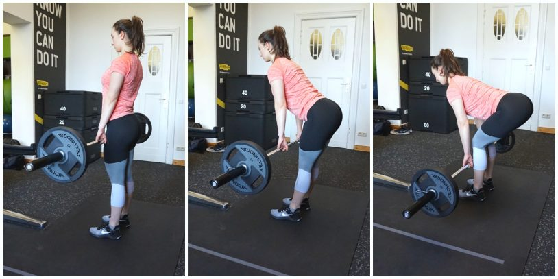 """A young woman in sports apparel performing the Romanian deadlift from the article """"why you should deadlift"""""""