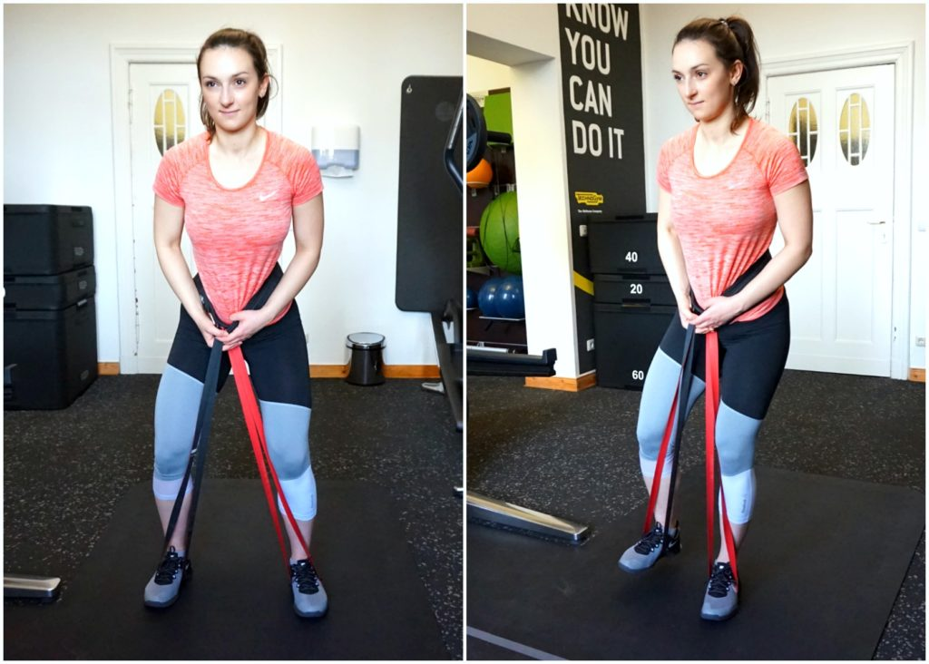 """A picture collage of a girl in sports clothes performing the banded glute march exercise from the article """"Top 8 Glute Exercises to Build and Shape your a strong Ass"""""""