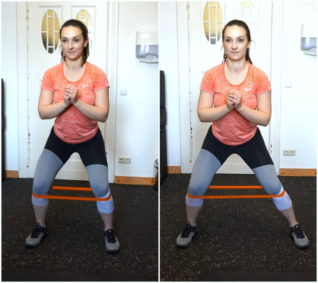 """A picture collage of a girl in sports clothes performing the banded side walk exercise from the article """"Top 8 Glute Exercises to Build and Shape your a strong Ass"""""""