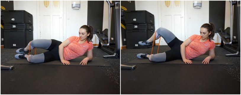 """A picture collage of a girl in sports clothes performing the clamshell glutes exercise from the article """"Top 8 Glute Exercises to Build and Shape your a strong Ass"""""""