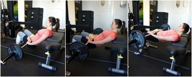 """A picture collage of a girl in sports clothes performing a barbell hip thrust from the article """"Top 8 Glute Exercises to Build and Shape your a strong Ass"""""""