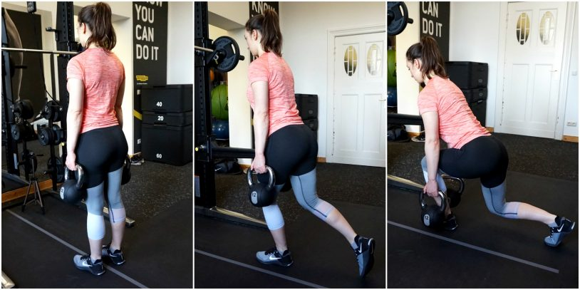 """A picture collage of a girl in sports clothes performing a forward-lean reverse lunge from the article """"Top 8 Glute Exercises to Build and Shape your a strong Ass"""""""