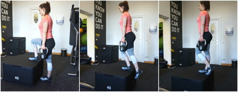 """A picture collage of a girl in sports clothes performing a step-up exercise with two kettlebells from the article """"Top 8 Glute Exercises to Build and Shape your a strong Ass"""""""