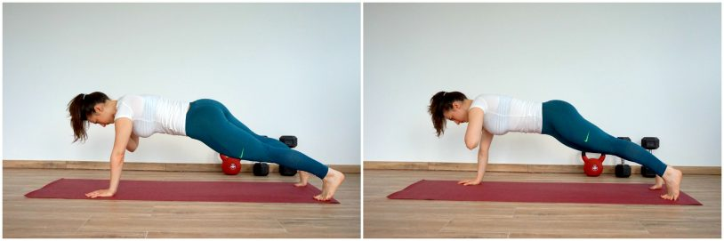 girl performing planks from the article 5 Progressions to your first push up
