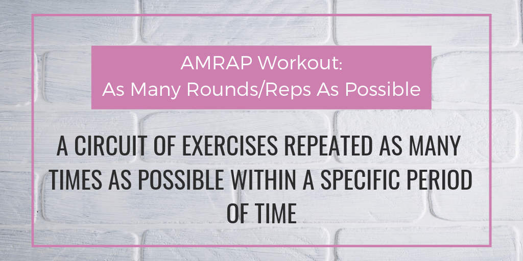 """Image of the definition of an AMRAP WORKOUT from article """"Full Body 15 Minute AMRAP Workout"""""""