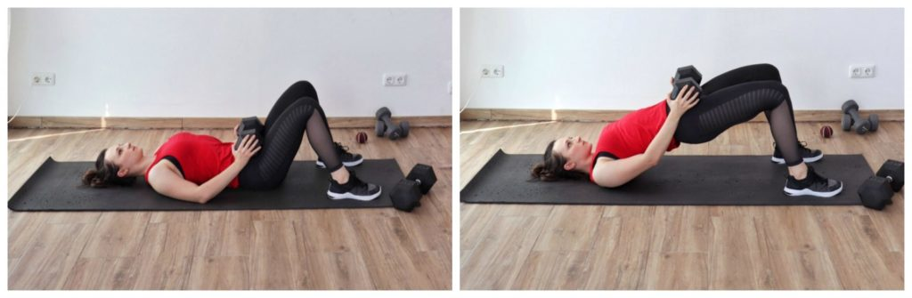 Young woman in sports clothing performing the glute bridge exercise as part of a legs and glutes dumbbell workout