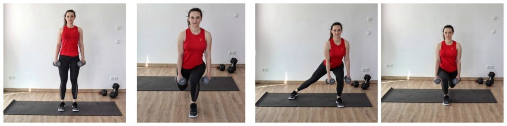 Young woman in sports clothing performing the diamond lunge exercise as part of a legs and glutes dumbbell workout.