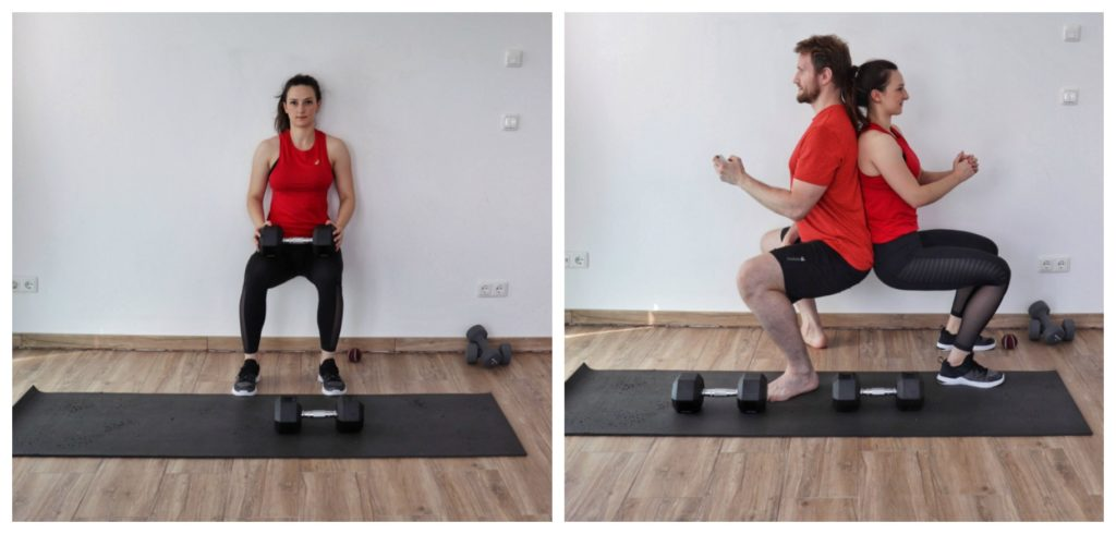 Young woman in sports clothing performing the wall sit exercise as part of a legs and glutes dumbbell workout