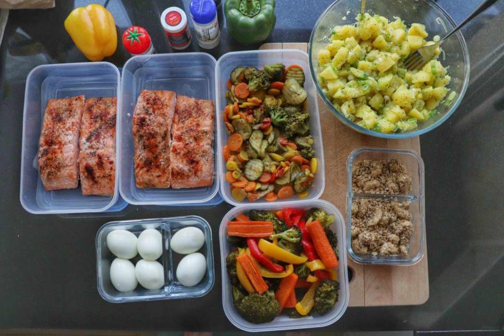 meal prep salmon and potatoes salad