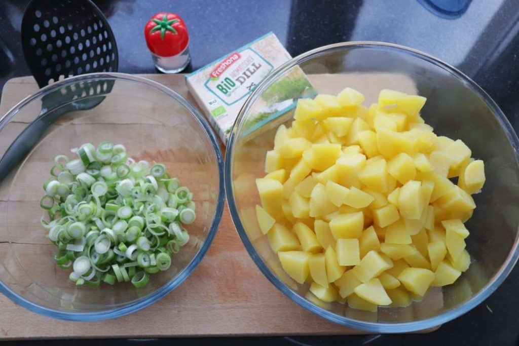"""ingredients for potato salad - potatoes, green onions, dill from article """"Easy meal prep ideas for dinner"""""""
