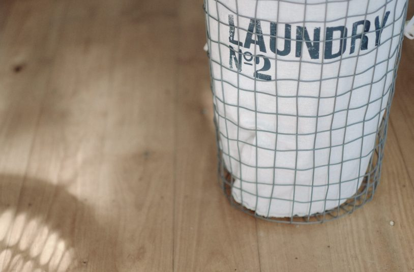 laundry basket with smelly workout clothes