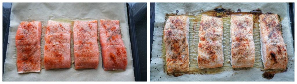 """Easy meal prep salmon on a bakin tray before and after being baked from article """"Easy meal prep ideas for dinner"""""""