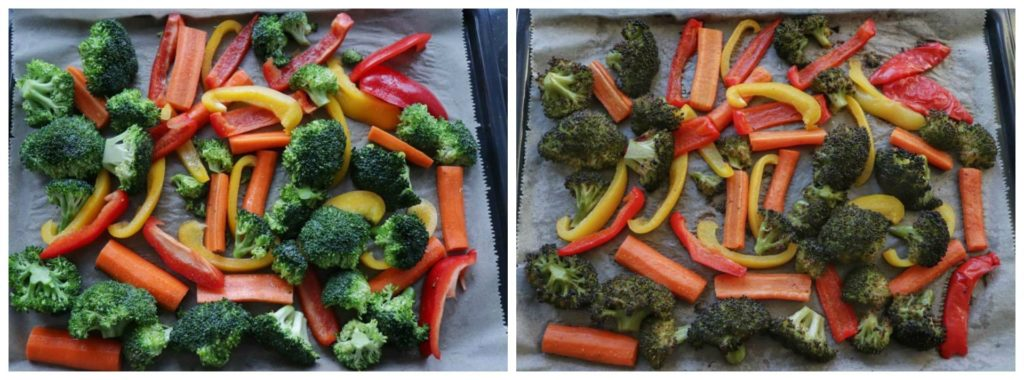 """meal prep veggies on a baking tray before and after being roasted from article """"Easy meal prep ideas for dinner"""""""