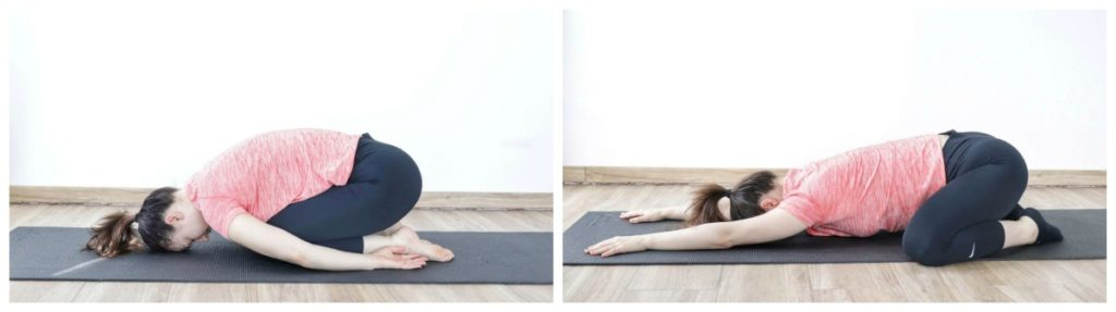 Child's pose vs. extended child's pose for relieving lower back pain.