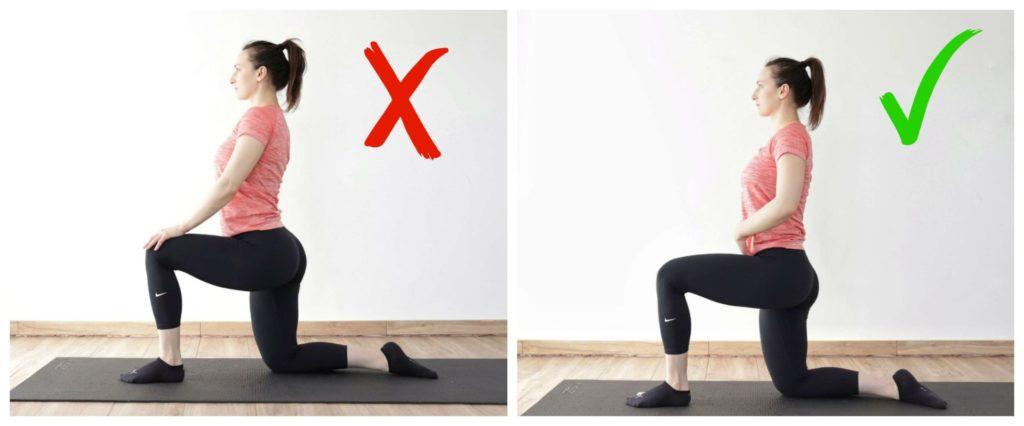 psoas stretch correct vs. wrong form demonstration.